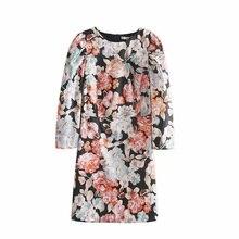 Printed Dress Womens Casual Long Sleeve Fashion Slim Straight Dresses