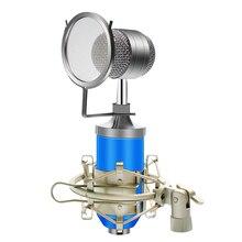 BM 8000 kondenser kablolu mikrofon kiti 3.5MM kayıt stüdyosu mikrofon Pop filtresi ile KTV Karaoke bilgisayar yayın