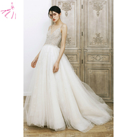 свадебное платье 2020 Customized Sexy Backless Wedding Dress Beaded A Line Bridal Gown Court Tail Vestidos de Novia