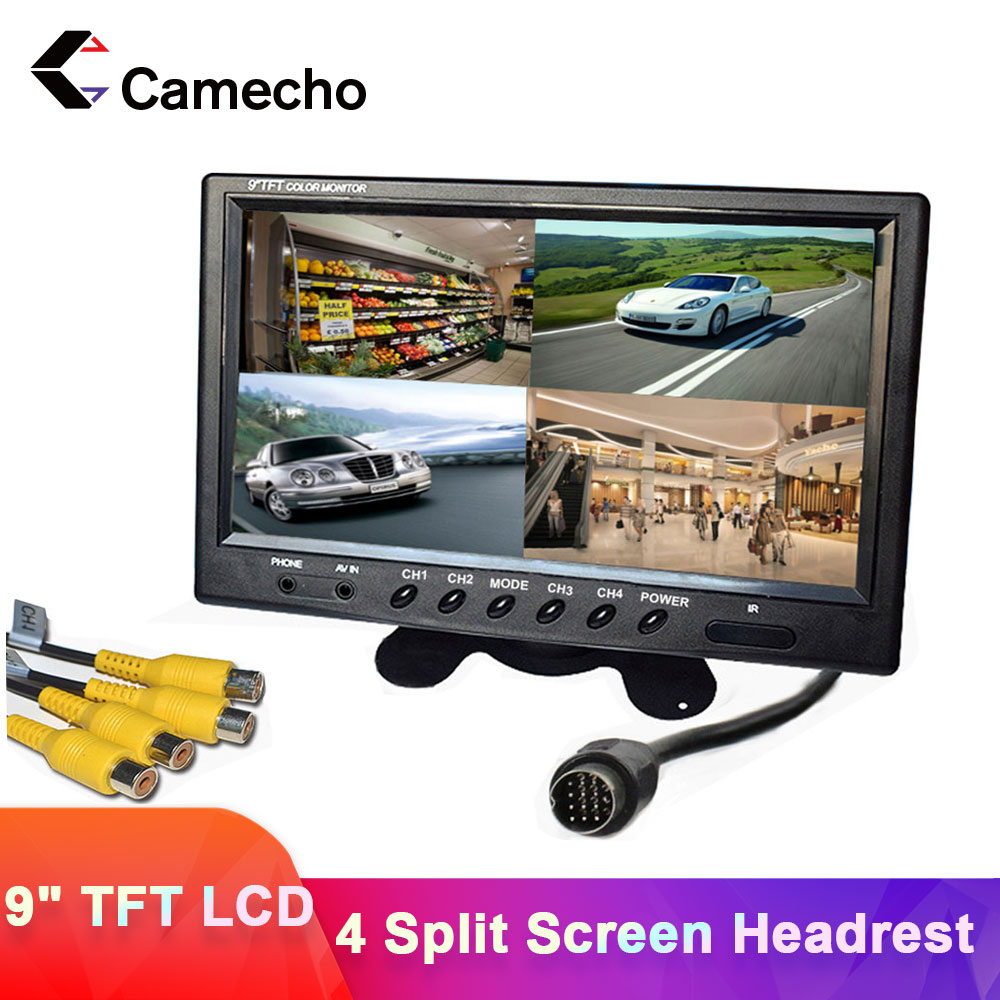Camecho, 9 дюймов, 4 раздельных экрана, автомобильный монитор, 12 В/24 В, подголовник, монитор заднего вида с разъемами RCA, 6 режимов, дисплей, дистанц...
