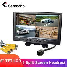 Camecho – moniteur de voiture avec écran partagé de 9 pouces, avec télécommande, affichage 6 modes, repose tête, avec connecteurs RCA, 12V / 24V