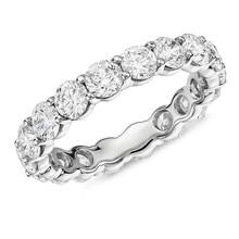 925 Sterling Silber 4mm Runde Cut Voll Eternity ring Hochzeit Band Anniversary Ring für Frauen