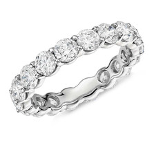 925 Sterling Silver 4mm Round Cut Full Eternity ring Wedding Band Anniversary Ring for Women