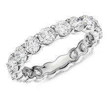 925 prata esterlina 4mm corte redondo completa eternidade anel de casamento anel de aniversário para mulher