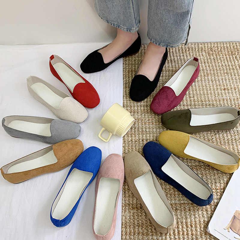 בתוספת גודל 35-43 נשים דירות צבעים בוהקים להחליק על שטוח נעלי אישה לופרס פו זמש נוח נעלי רדוד Zapatos mujer