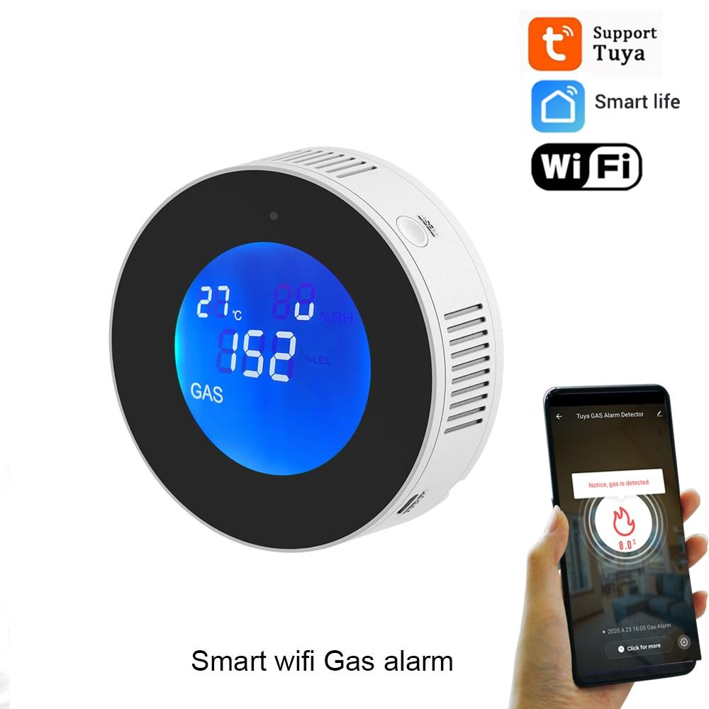 Tuya Wifi Smart Natural Gas Alarm Sensor Combustible Gas Leak Detector LCD Display Smart Life App Message Push Auto close Valve