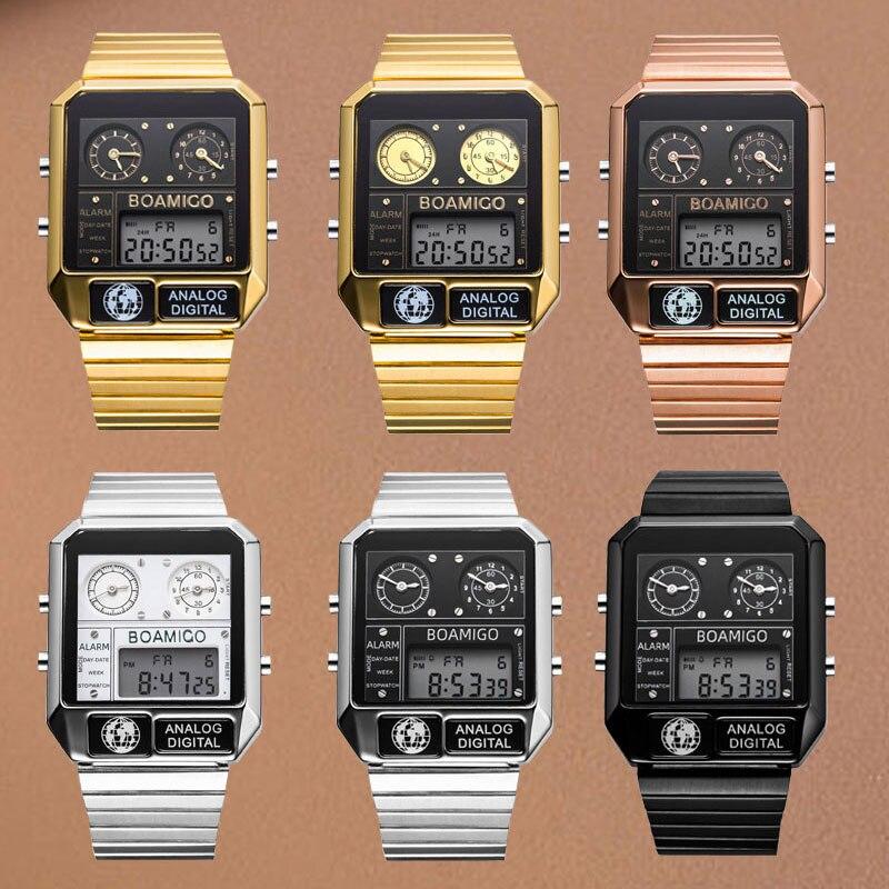 BOAMIGO Топ бренд Роскошные спортивные часы мужские модные цифровые аналоговые светодиодный часы подарок на Новый год relogio masculino - 6