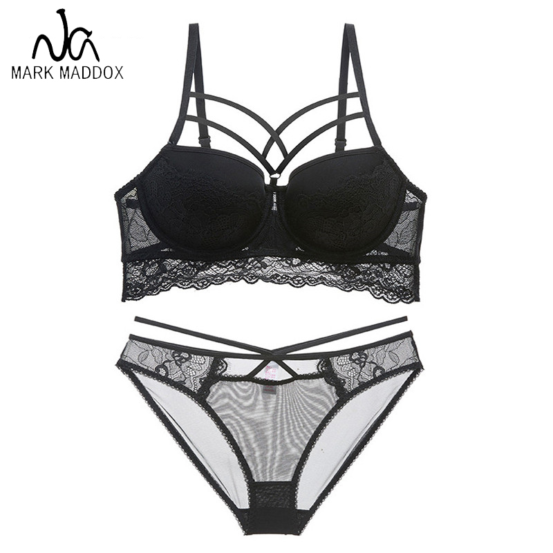 2019 Top Sexy Bra Set Push Up Brassiere Bandage Black Embroidery Lingerie Sets Women Thick Gather Underwear Set Cotton Bras Lace in Bras from Underwear Sleepwears
