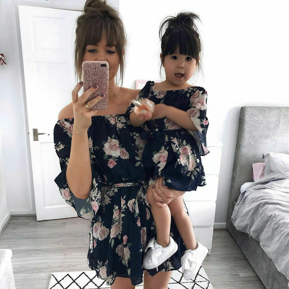 Mother and Daughter Floral Long Boho Dress Matching Women Girls Family Clothes