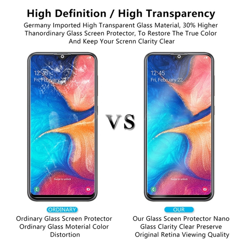 3PCS Full Cover Tempered Glass For Samsung Galaxy A50 A40 Screen Protector Glass For Samsung A70 M20 M30 A20 A30 A50 A80 A60 A90