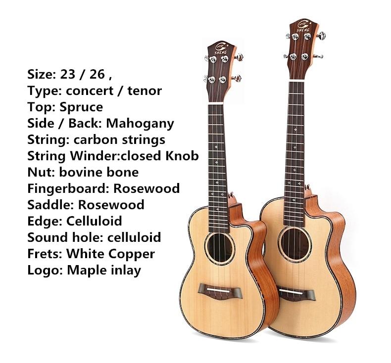 Ukulele Top Solid Soprano Concert Tenor 21 23 26 Inch Electric Guitar Ukelele Cutaway Spruce Mahogany Cedar 4 Strings Pick UP