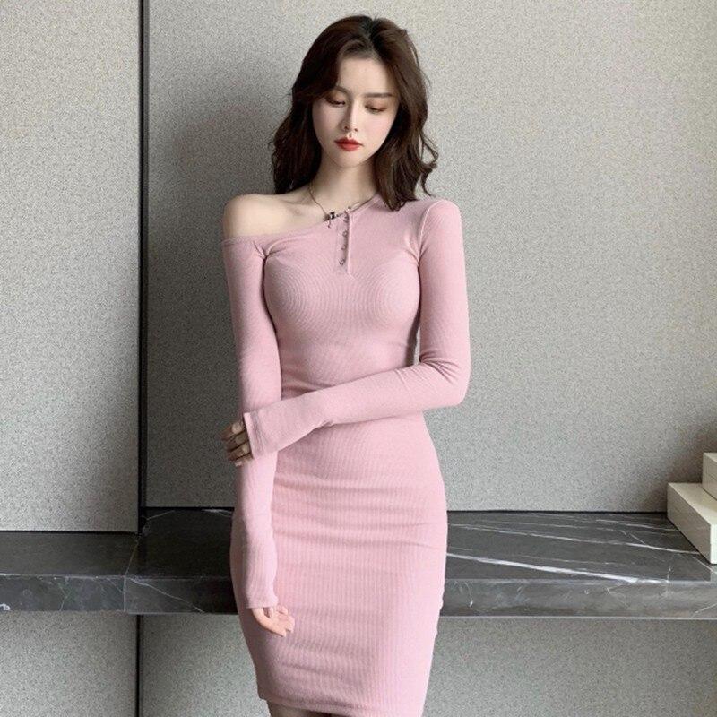 Сексуальное платье с открытыми плечами Женская Повседневная