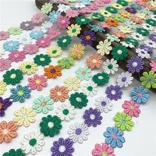 Garniture en dentelle de fleur de marguerite colorée pour tricot, ruban brodé de mariage, bricolage, Patchwork fait à la main, fournitures de couture, artisanat, 1yard 25mm