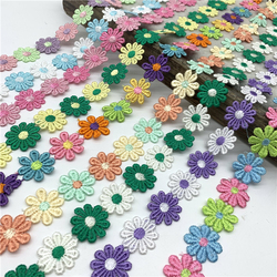 1yard 25mm Colorful Daisy Flower Lace Trim For Knitting Wedding Embroidered Ribbon DIY Handmade Patchwork Sewing Supplies Crafts