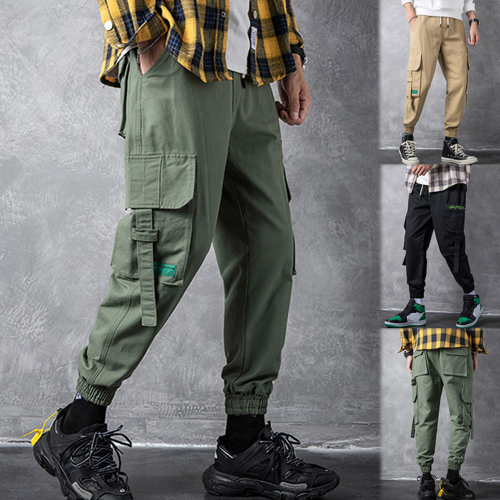 Sweatpants Men Overalls Patchwork-Pockets Streetwear Fitness Loose Sports-Ankle-Length