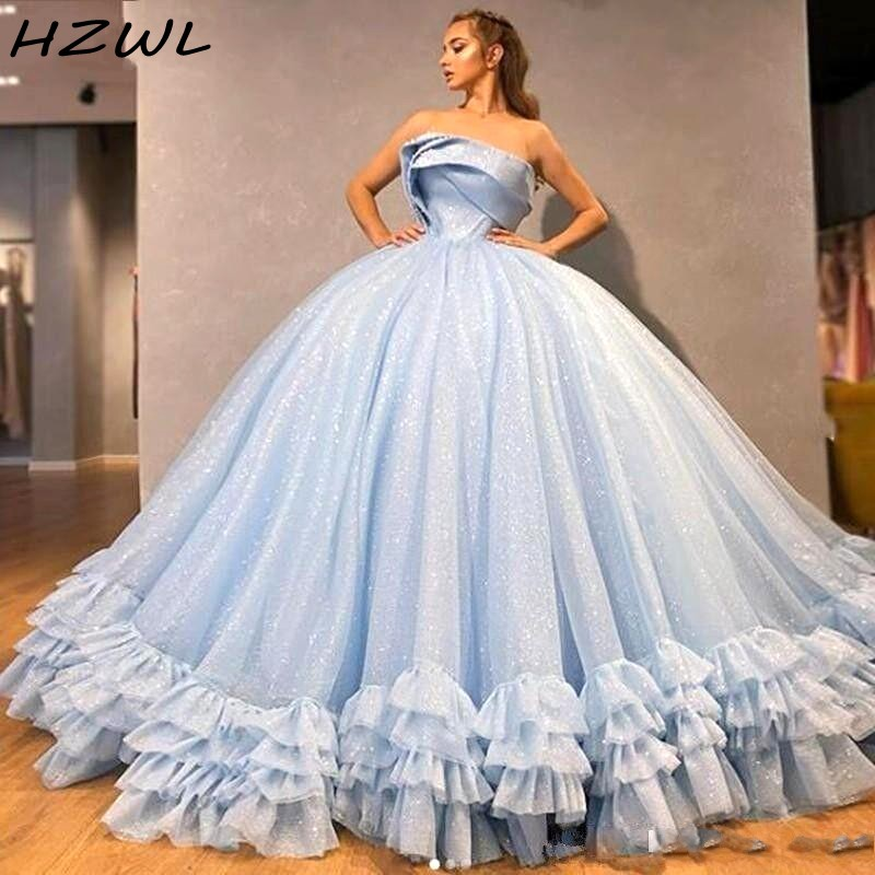 Ball Gown Light Blue Quinceanera Dresses Strapless Sequins Tiered Tulle Puffy Graduation Dress Lace Up Back Girls Pageant Gowns Quinceanera Dresses Aliexpress