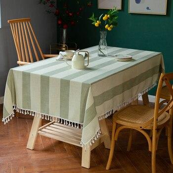 Manteles rectangulares a rayas lisas Mantel de encaje con flecos cubierta de mesa Mantel de Año Nuevo para Mantel de mesa Impermeable