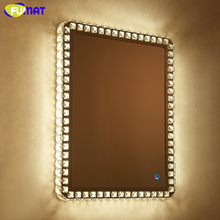 FUMAT Vanty Mirror Light Rectangle Crystal LED Wall Hanging Toilet Bathroom 5MM Bedroom Make Up Dressing Table Light Mirrors(China)