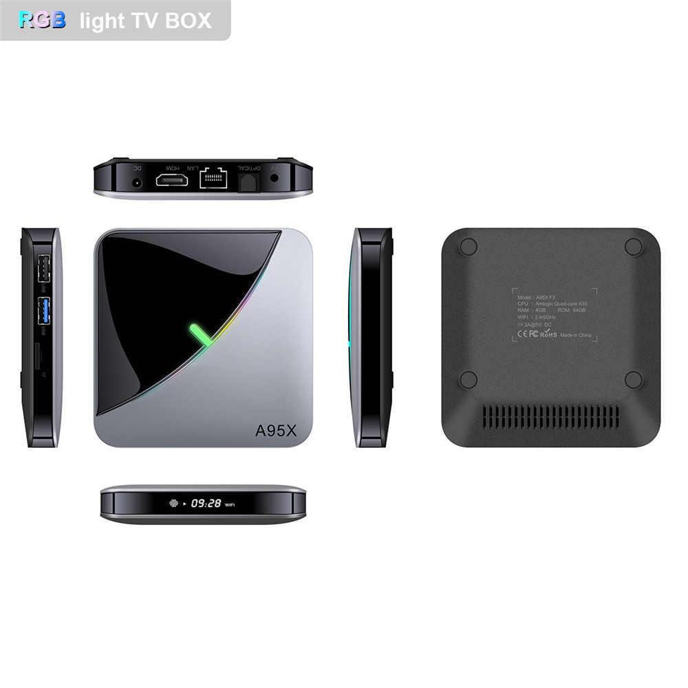 A95X F3 aire RGB de luz inteligente TV caja Android 9,0 Amlogic S905X3 4GB 64GB Wifi 4K 60fps reproductor de medios 2GB 16GB Set top Box