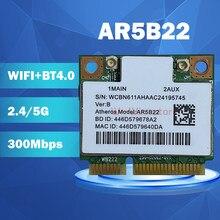 Atheros azurewave ar9462 ar5b22 wb222 metade mini pcie 300mbps + bluetooth4.0 wlan wi fi cartão sem fio