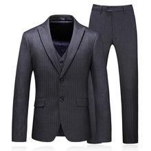 Elegant Single Breasted Suit Men 2018 High Quality Groom Wedding Tuxedo Jacket with Pants Slim Fit 3 Piece Business Wear