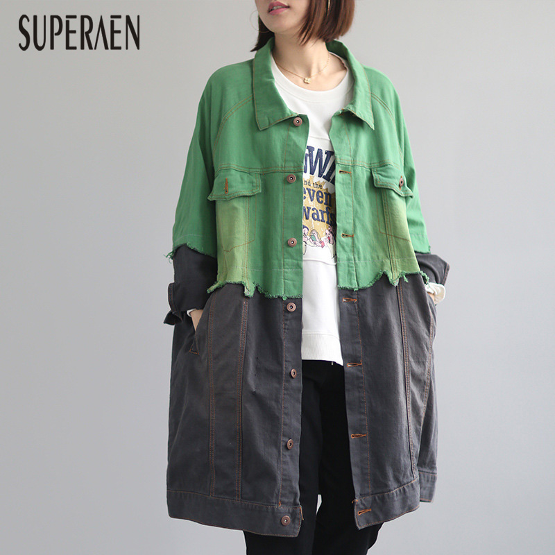 SuperAen Europe Autumn New Denim   Trench   Coat for Women 2019 Loose Pluz Size Casual Ladies Windbreaker Fashion Women Clothing