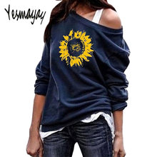 Sweatshirt Women Hoodies Long-Sleeve Tops Plus Size 5XL Sunflower Print O-neck Pullover Women Sweatshirts Shirt Streetwear 2019(China)