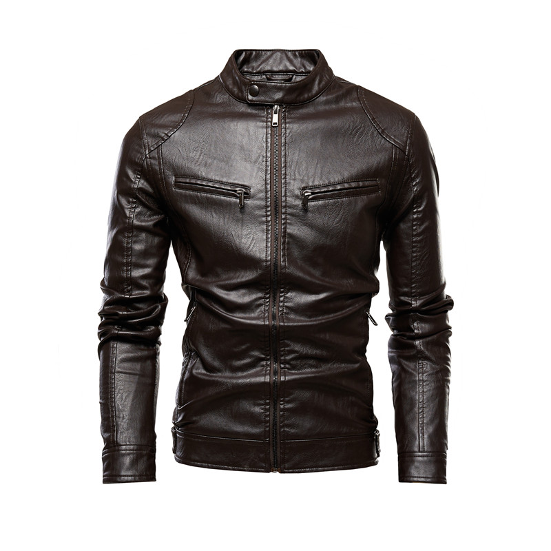 Autumn Jacket Men New Slim Retro Winter Jackets Male PU Leather Stand Collar Sportswear Suits Mens Bomber Coat Chaqueta Hombre 1