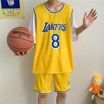 Ropa Deportiva de baloncesto pantalones cortos traje deportivo de dos piezas ropa deportiva de manga corta azul púrpura y amarillo estudiante conjunto uniforme de baloncesto