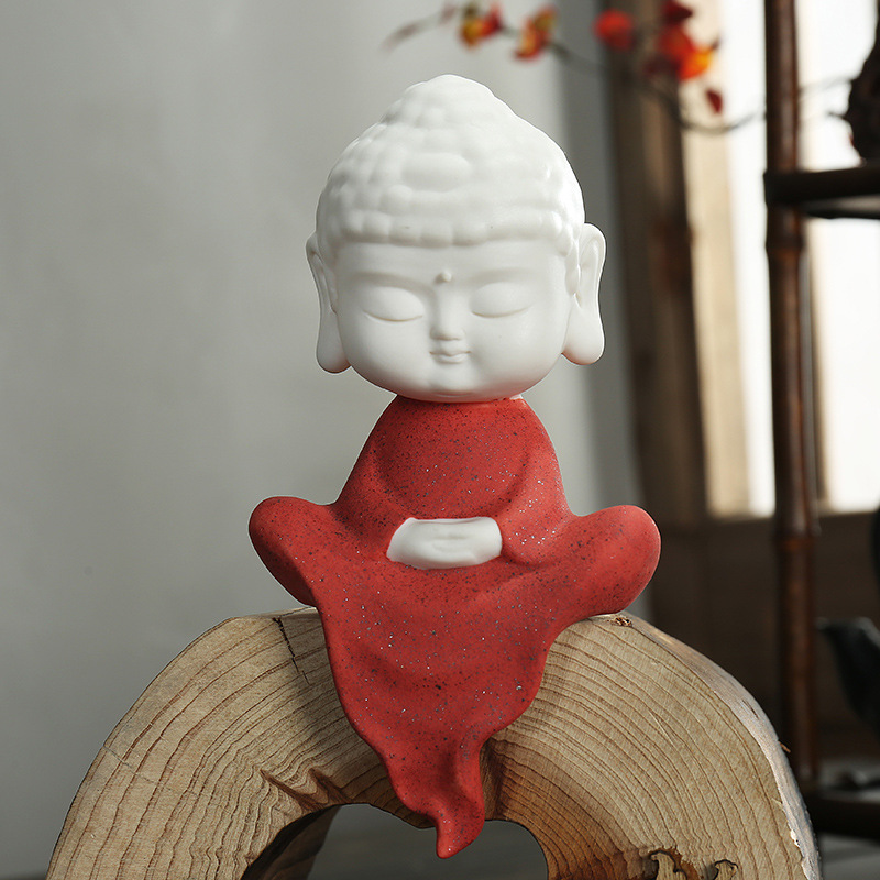 Zen Cute Yoga Buddha Statue Monk Ceramic Figure Sculpture Home Decor