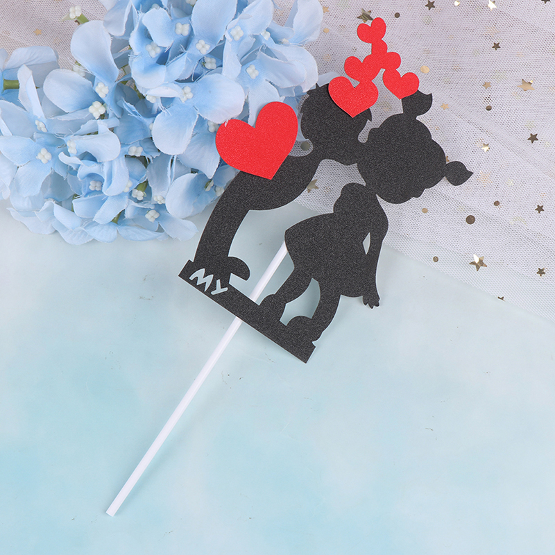 Cake Topper Black Boy /& Girl with Red Heart Wedding Paper DIY Wedding Party JN