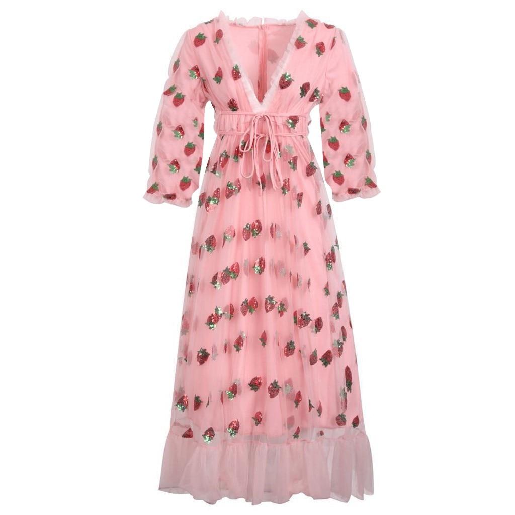 New Ladies Dress Fashion New Women Casual Sexy Strawberry Sweet Mesh Yarn Pleated Long Sexy Women