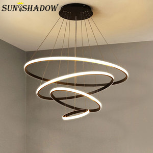 Image 1 - Luminaires Modern LED Chandelier White&Black&Coffee Lamps Led Ceiling Chandeliers Lighting For Living room Kitchen Dining room