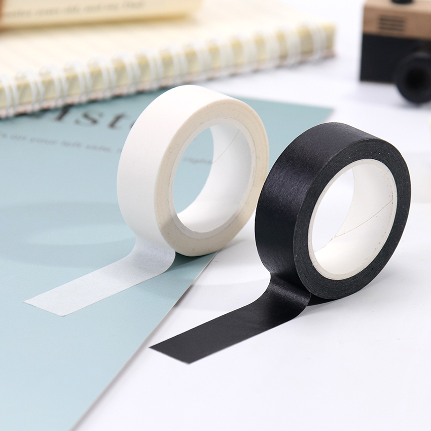 1PC 15mm X 10m Solid White Black Basic Decorative Paper Writable Adhesive Washi Masking Tape School Supplies Stationery