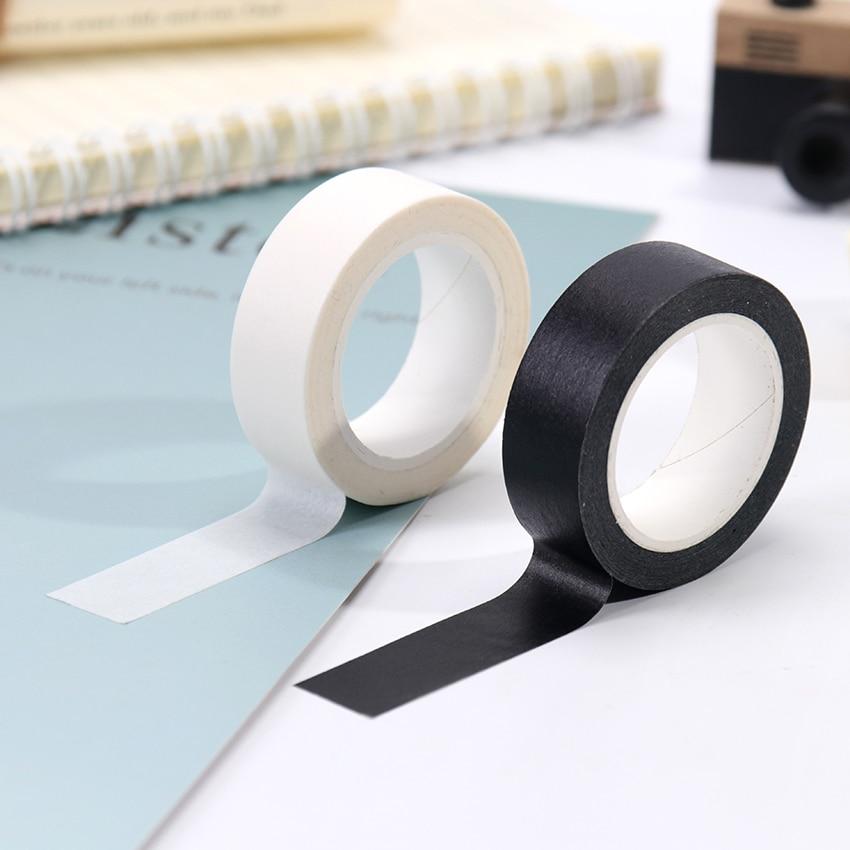 1PC 15mm X 10m Solid White Black Basic Decorative Paper Writable Adhesive Washi Masking Tape School Supplies Stationery