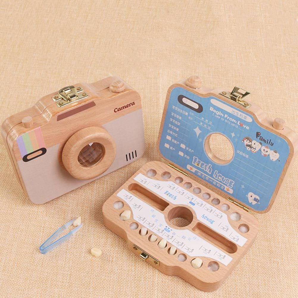 Baby Tooth Keepsake Box Camera Shaped Wooden Container Storage Teeth House Gift Baby Growing Anniversary Wooden Infant Teeth Box