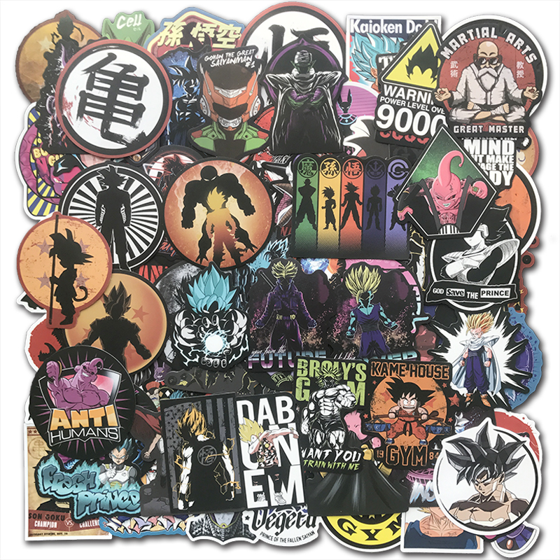 AQK 100Pcs Japanese Classic DragonBall Z Anime Stickers Super Saiyan Goku For Skateboard Guitar Luggage Laptop Kids Toy Sticker