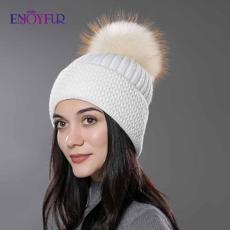 ENJOYFUR Women Fur Hat Winter Fur Pompom Hat Natural Fur Beanies Knitted Wool Cotton Hat New Fashion  Gorro Cap