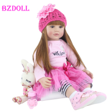 60cm Silicone Reborn Baby Doll Toy Realistic Vinyl Princess Toddler Bebe Doll Child Birthday Gift Girl Babies Boneca Brinquedo