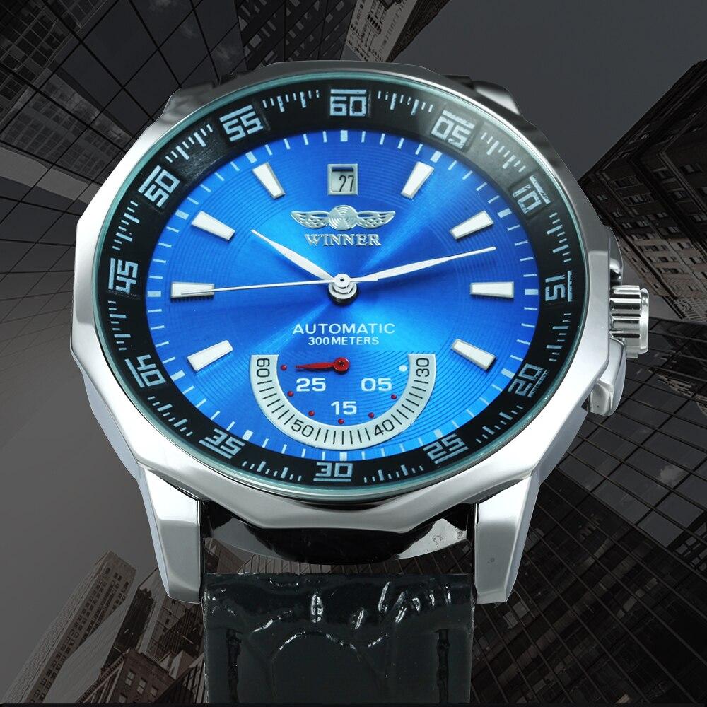 WINNER Automatic Mechanical Watch Men Polygon Case Calendar Life Waterproof Sport Style Top Brand Wristwatch Orologio Zegarek