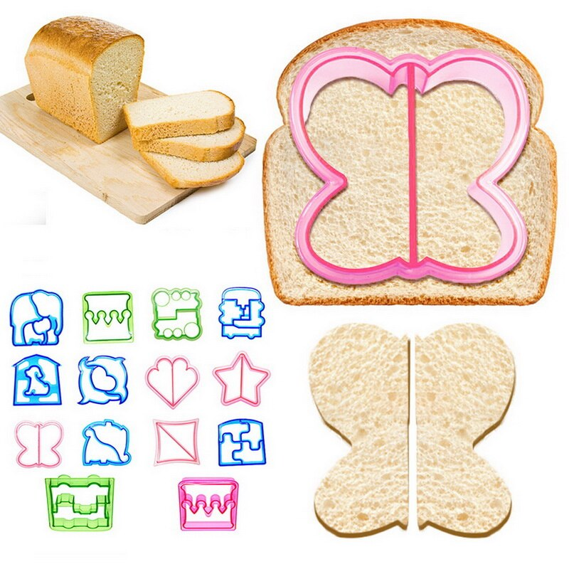 DOZZLOR Kids Cutting Sandwich Dinosaur Star Heart Shaped Stainless Steel Bread Mold Metal Cookie Cutters Mold new