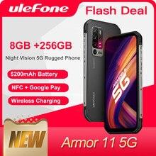 Чехол-накладка Ulefone Armor 11 5G прочный мобильный телефон 8 ГБ + 256 ГБ водонепроницаемый смартфон 48MP NFC Беспроводной зарядки мобильного телефона