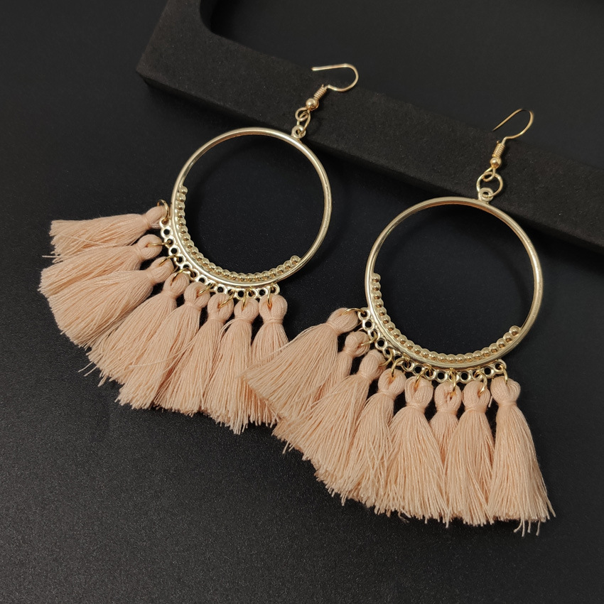 Women's earrings European and American explosions silk tassel earrings Bohemian big circle geometric earrings ladies jewelry 3