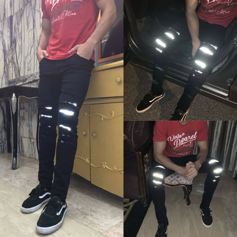 Modis Mens Skinny Jeans 2019 Autumn Winter  Super Stretch Fit Ripped Reflective Denim Jeans Pants Black Casual Men's Denim Pants