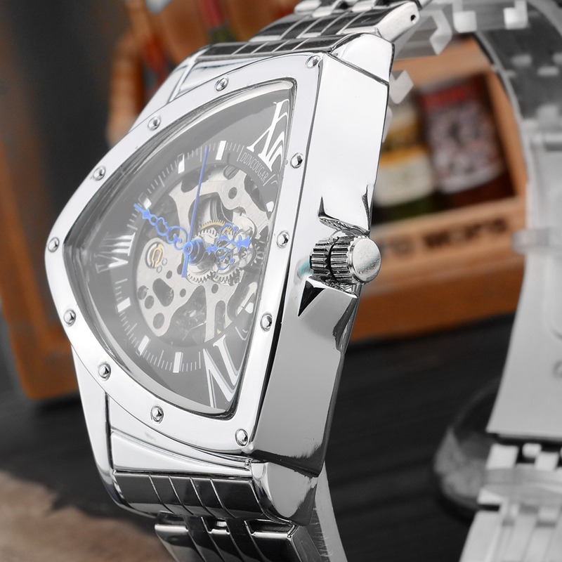 H5330f040bd8e4d299d6195bdddc6ce7eY Men Watch Hollow Triangular Mechanical Watches Stainless Steel Men's Wristwatches Fashion Brand Men Clock Male Dropshipping!!!