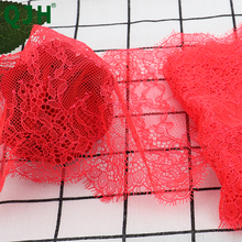 New 3 Meter 16cm Wide Cherry Red Lace Trim Fabric Flower DIY Crafts Wedding Dress Clothing  Lace Material Handmade Fabric Lace