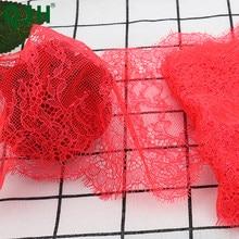 Nuevo ribete de encaje rojo de cereza de 16cm de ancho de 3 metros tela de flores manualidades DIY vestido de boda ropa de encaje Material hecho a mano tela de encaje