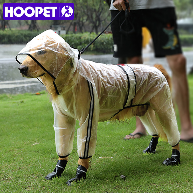 HOOPET Pet Raincoat Puppy Four Feet Hooded Transparent Waterproof Teddy Large Dog Rain Out Clothes For Animals