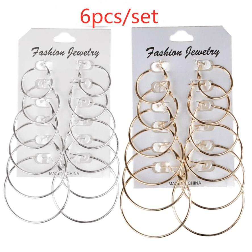 6Pairs Punk Hoop Earrings Set Big Circle Earrings Jewelry for Women Girls Steampunk Ear Clip Punk Style Earring Ear Ring