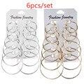 6 пар серьги-кольца в стиле панк набор большие круглые серьги ювелирные изделия для женщин девушек клипсы в стиле стимпанк серьги в стиле па...